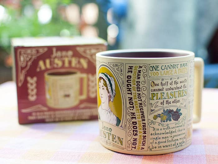A mug with a picture of Jane Austen and quotes from her novels