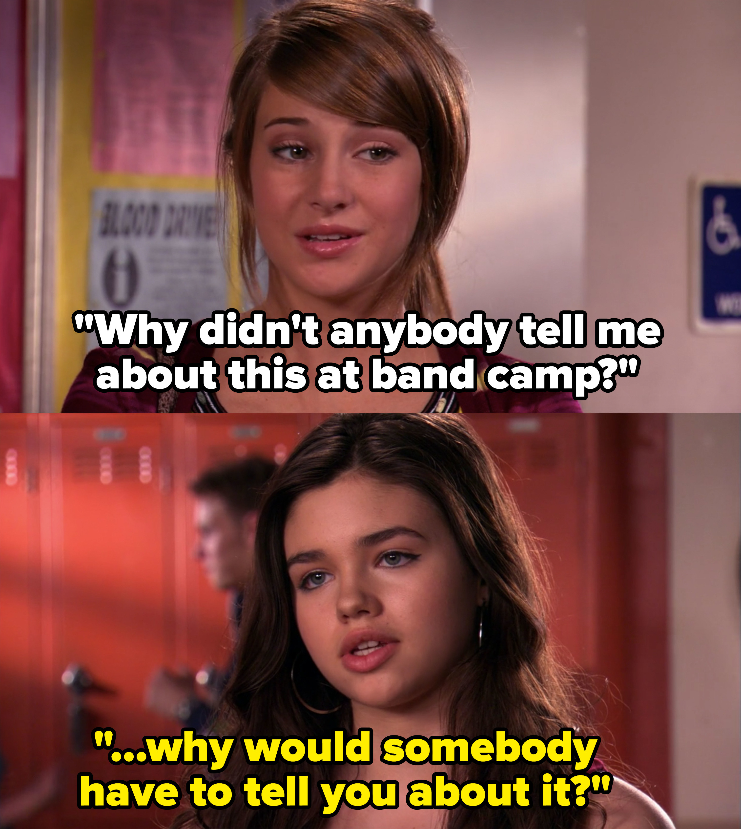 Amy asks why nobody ever told her about masturbation at band camp and Ashley asks why someone would even need to tell her about it