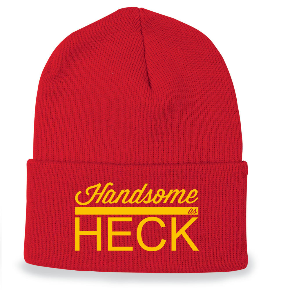 "a red beanie hat that says ""handsome as heck"""