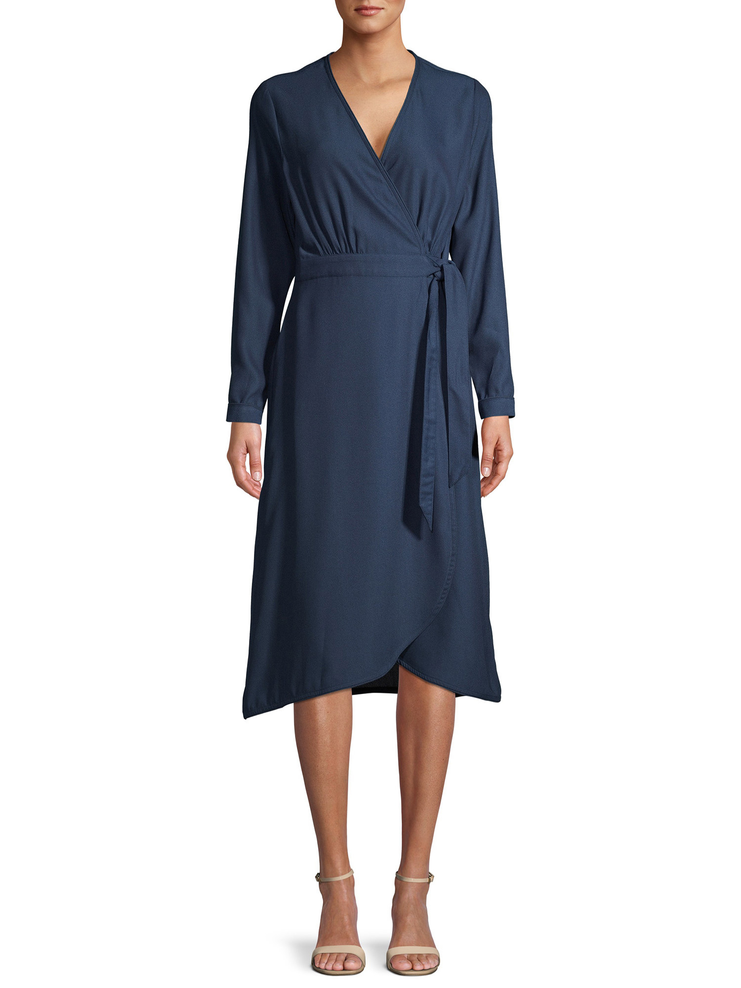 Model wearing faux wrap dress in blue.