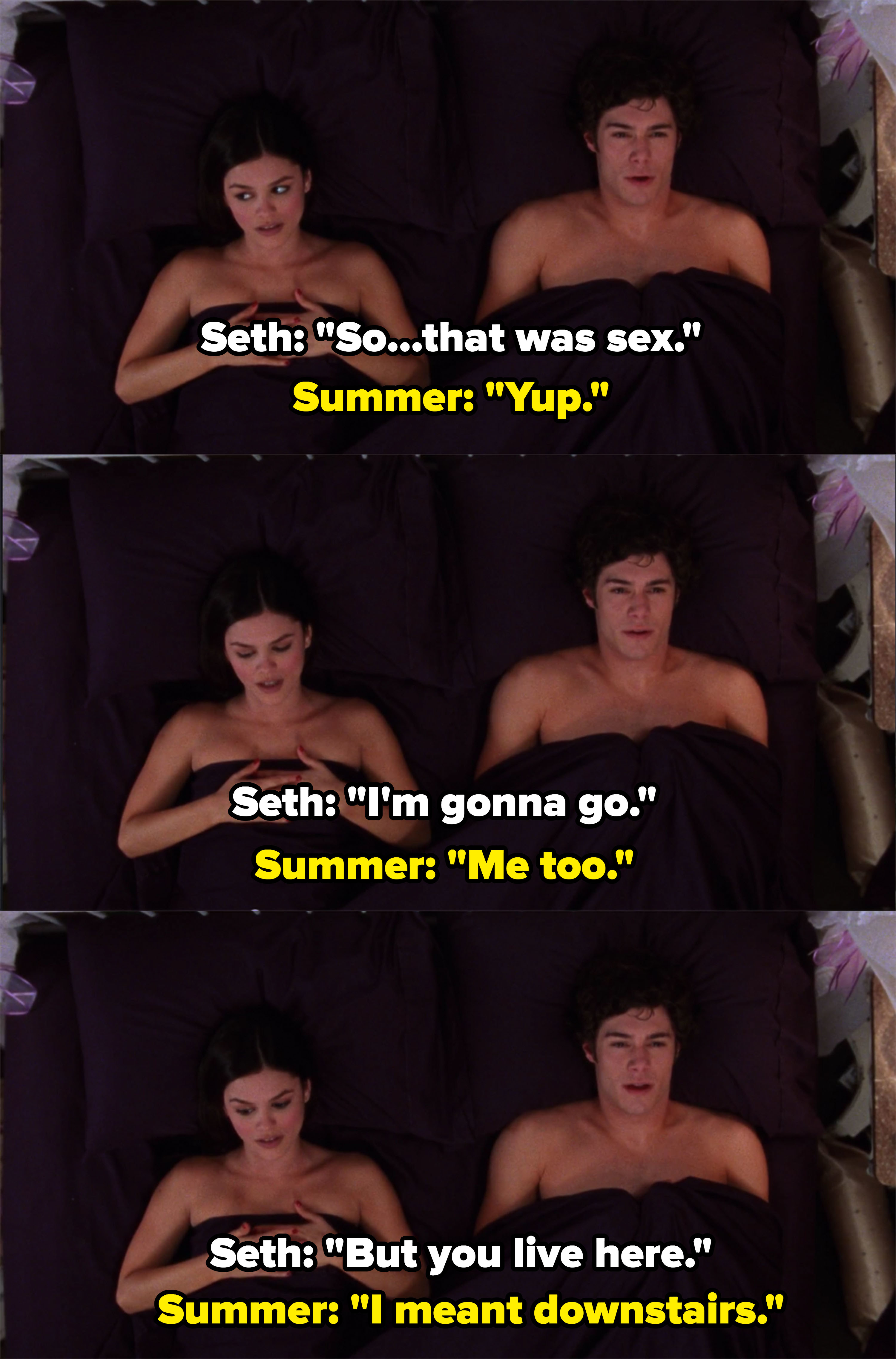 Seth says he's going to go and Summer says she is too, Seth awkwardly reminds her she lives there