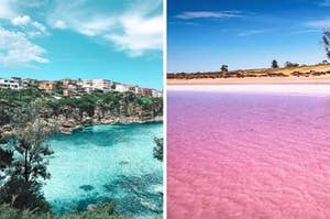 Side by side image showing an aqua blue water on the left and a pink lake on the right
