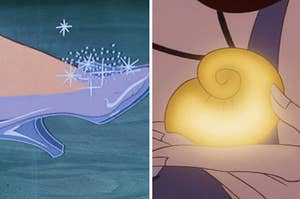 Cinderella's glass slipper on the left and Ursula's magic necklace on the right