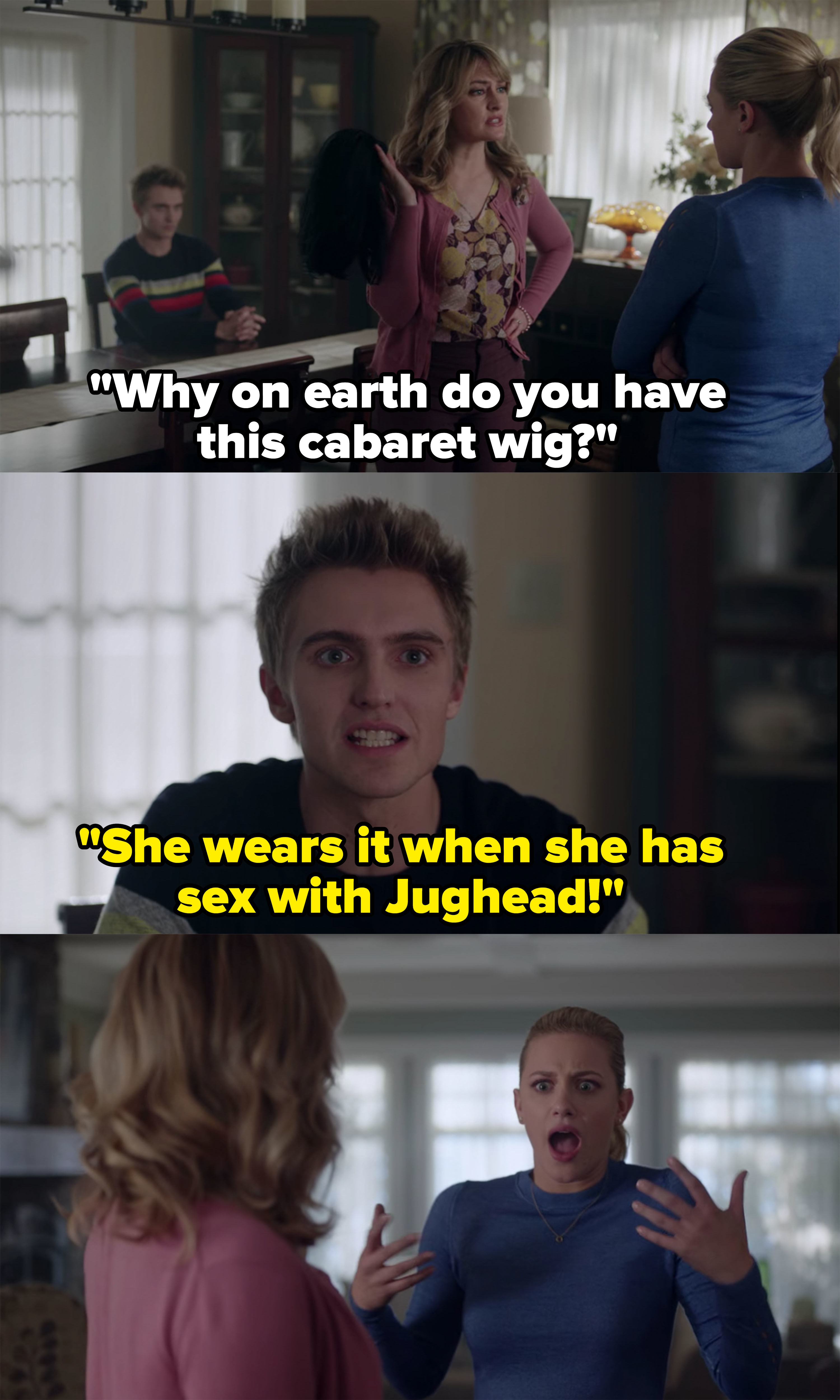 Chic tells Alice Betty uses the wig when she has sex with Jughead