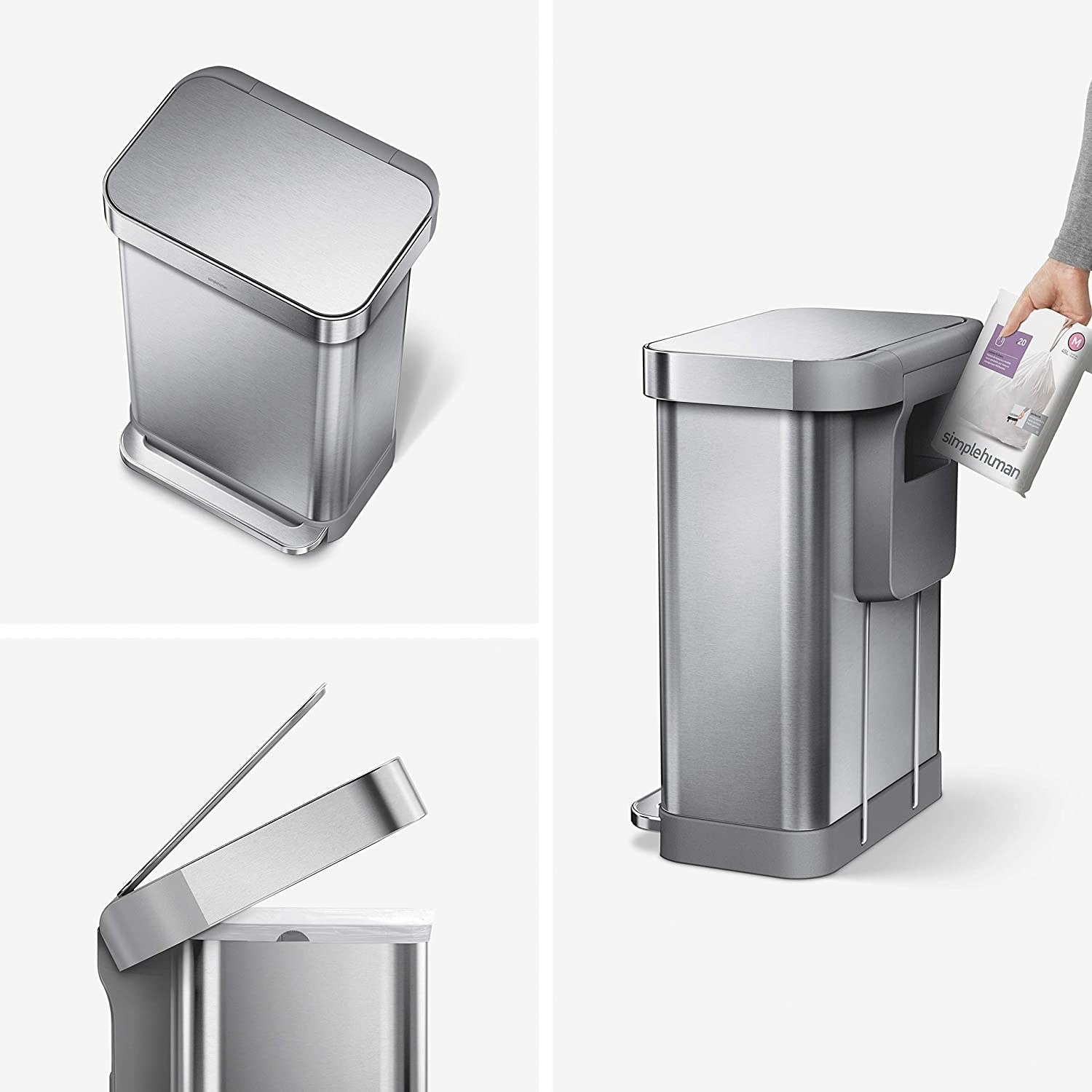 Three product photos showing the top, side, and back profile (with a spot for trash bags) of a Simple Human trash can