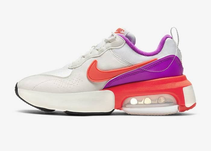 The sneakers in pink and purple