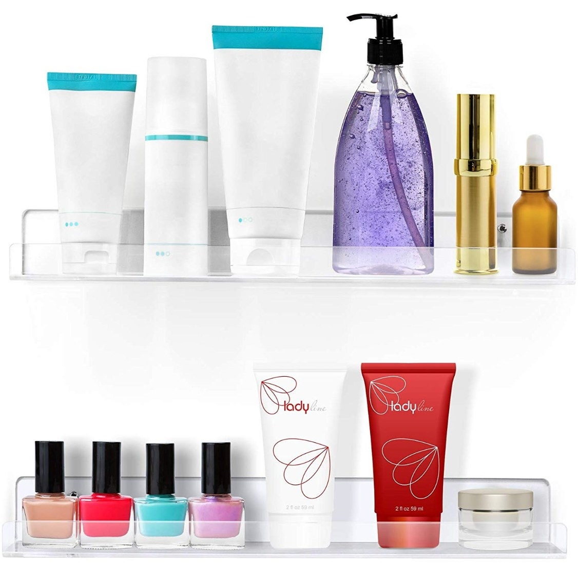 The floating shelves being used to hold colorful nail polish and lotion