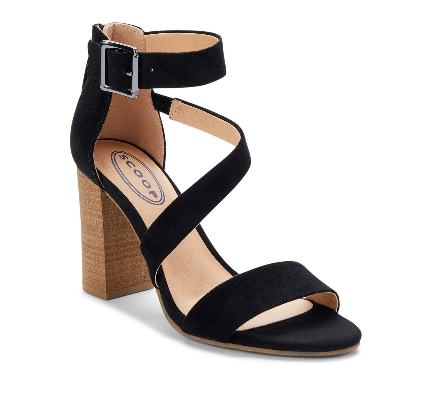 A black heeled sandal with a wrap secure and block heel