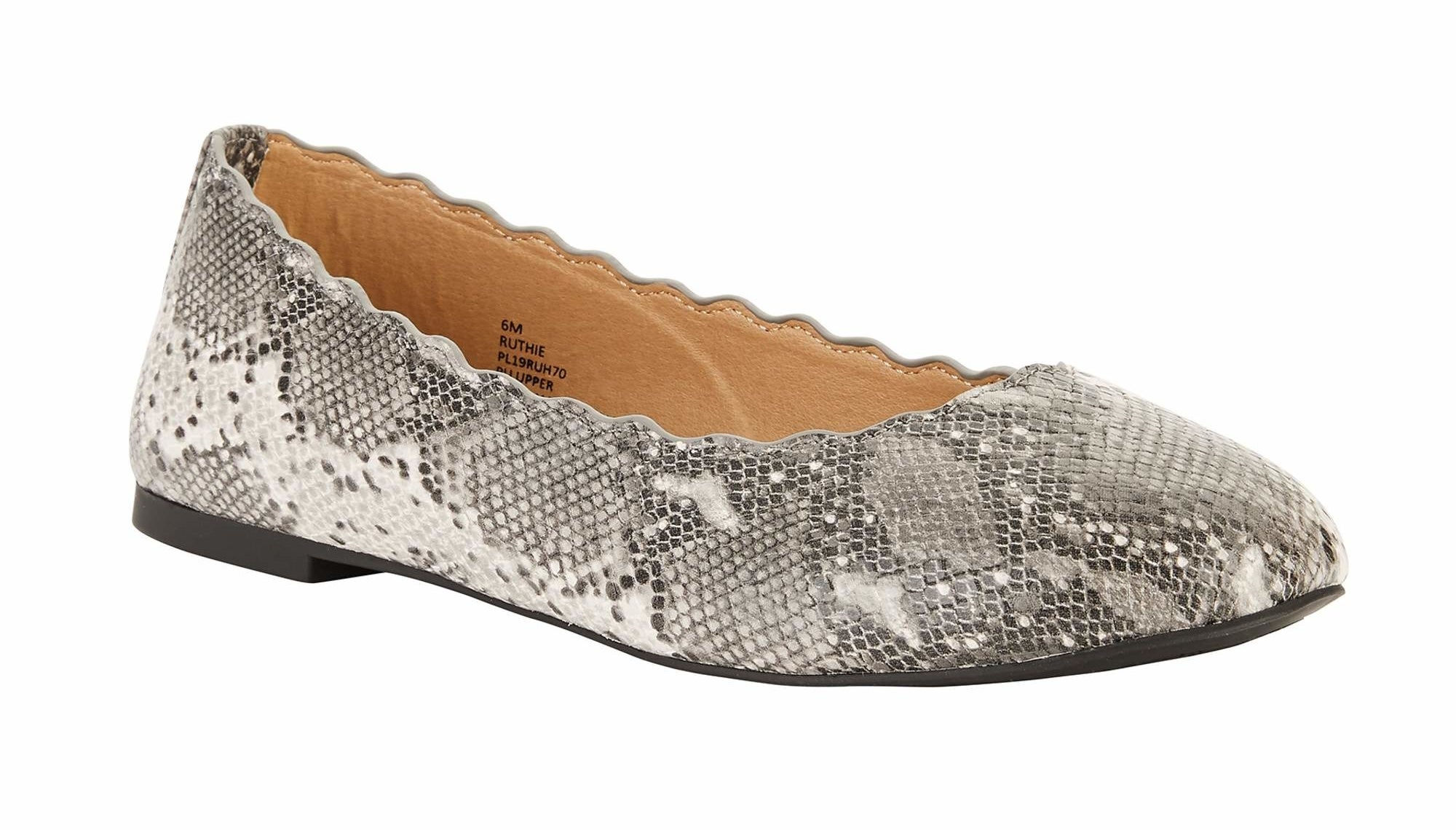 one scalloped edge flats in a faux snake skin print
