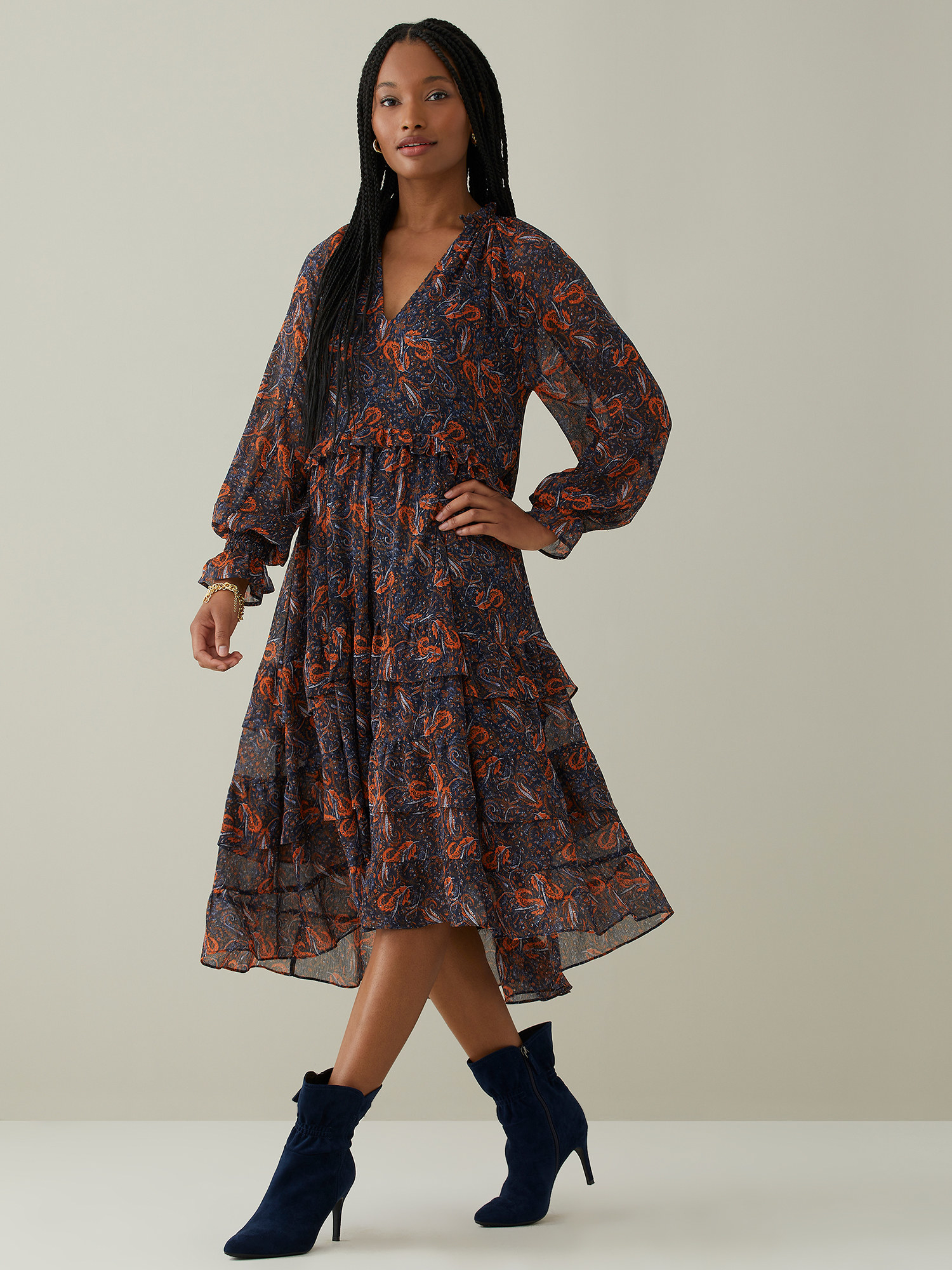 Model wearing the blue and orange floral dress