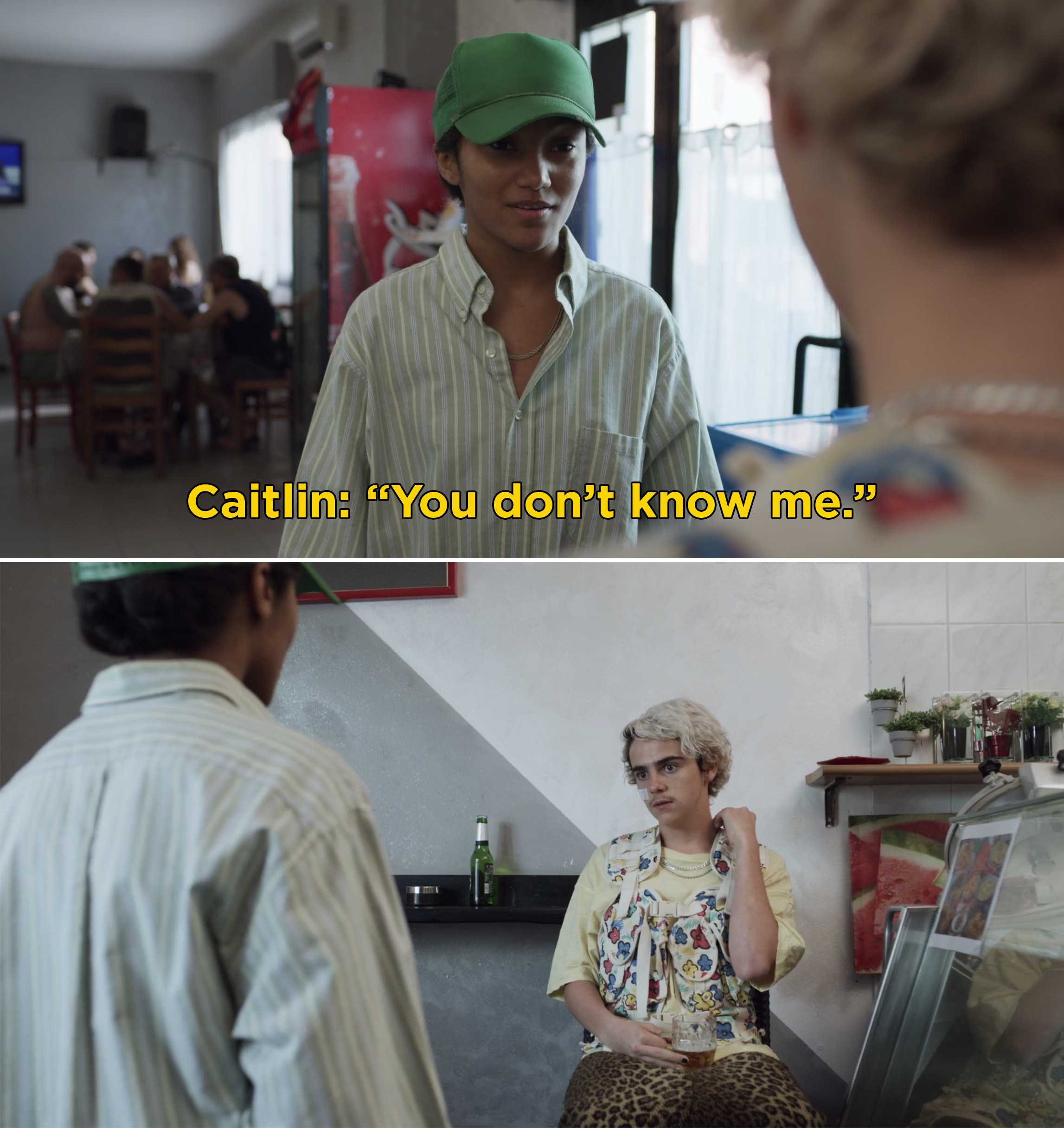 "Caitlin telling Fraser, ""You don't know me"""