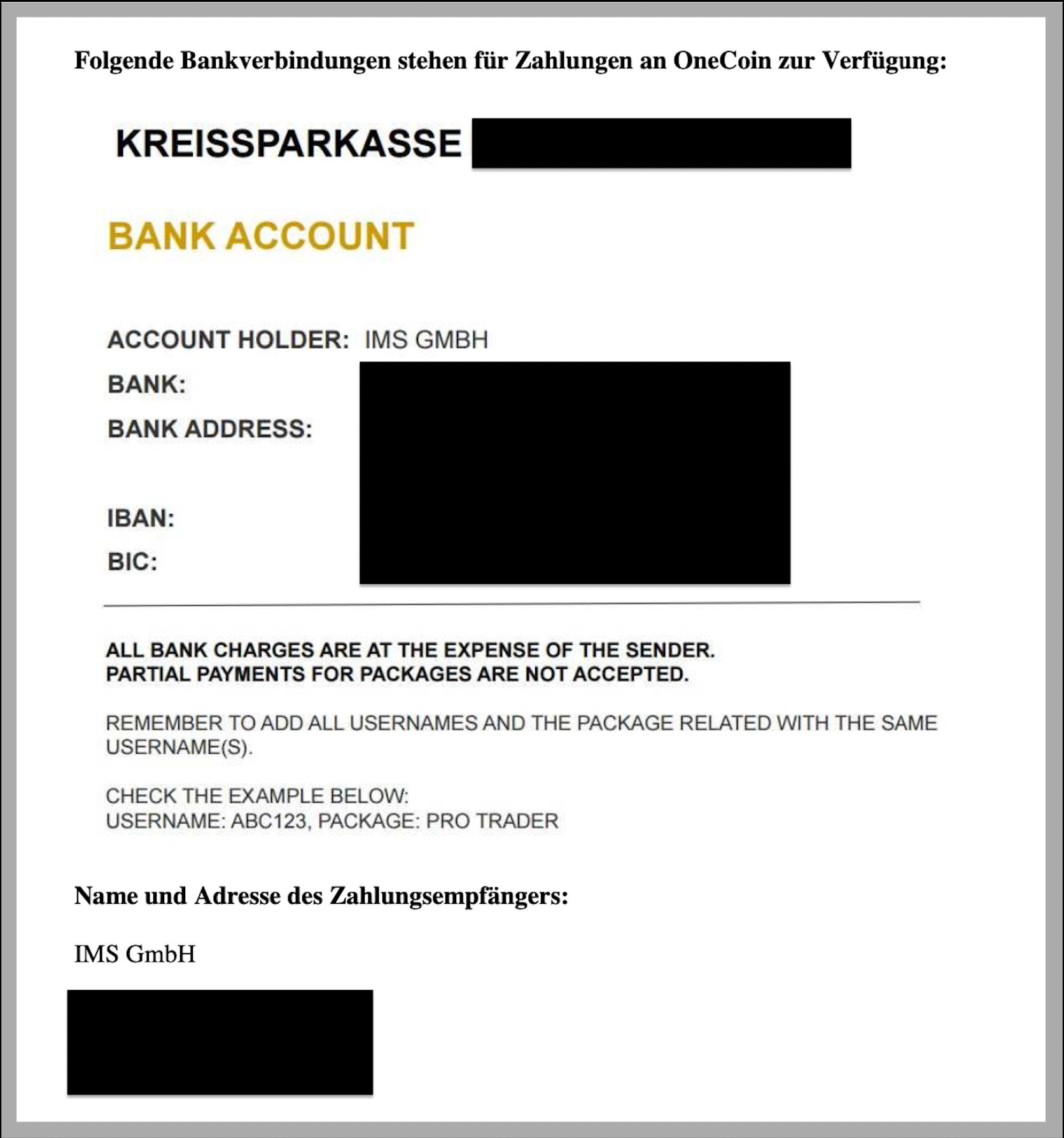 Auszug aus einer Werbe-Präsentation mit Angabe der Bankverbindung bei der IMS GmbH.