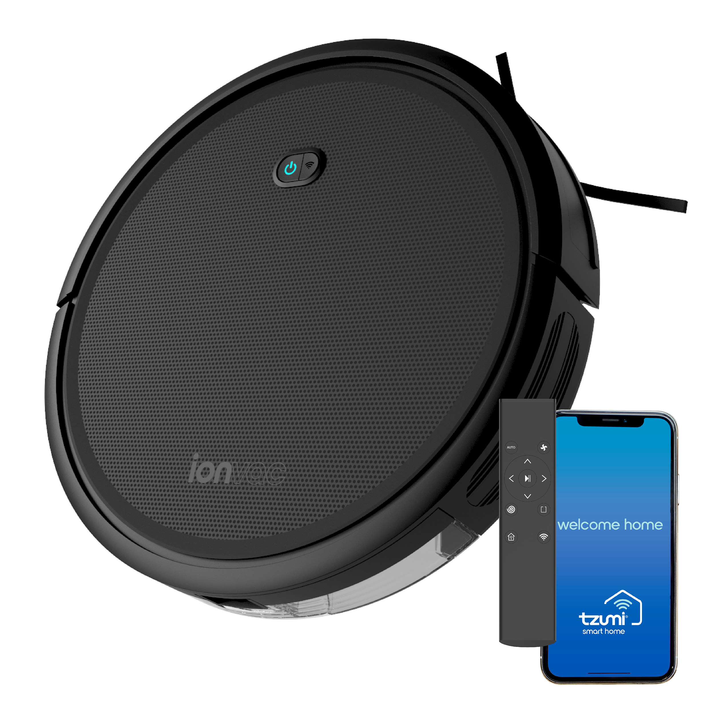 A black ionvac robot vacuum with remote and app on phone