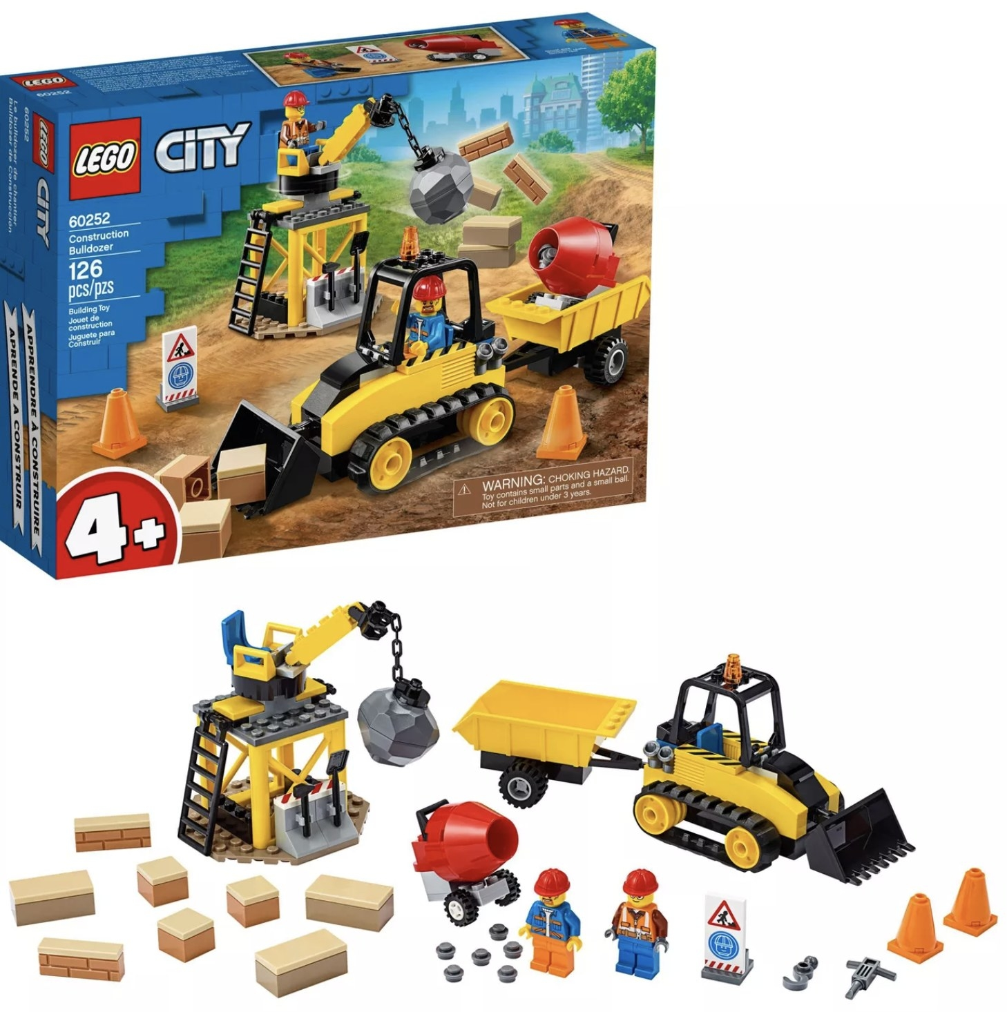 A lego set of bulldozers, cranes, materials, and construction workers