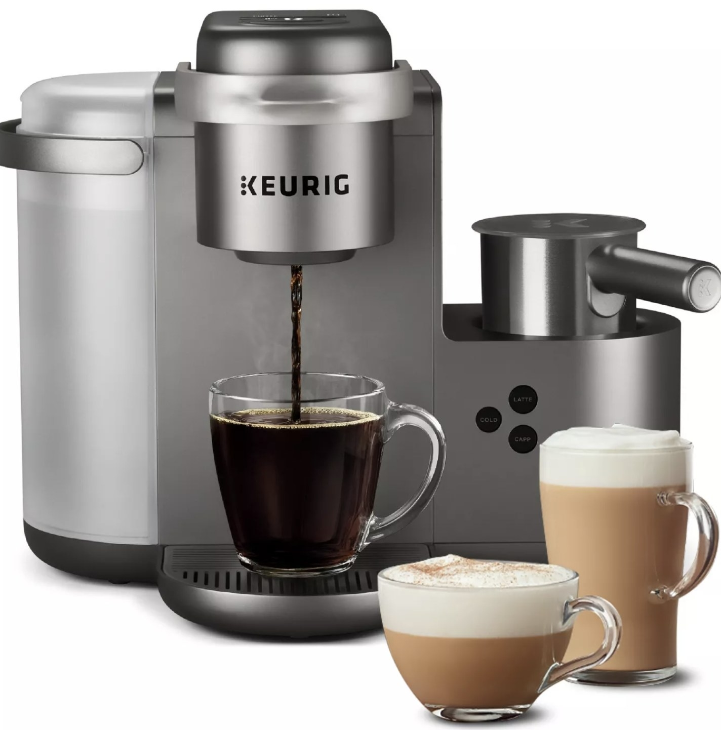 A stainless steel Keurig latté and cappuccino maker with three cups of lattés next to it