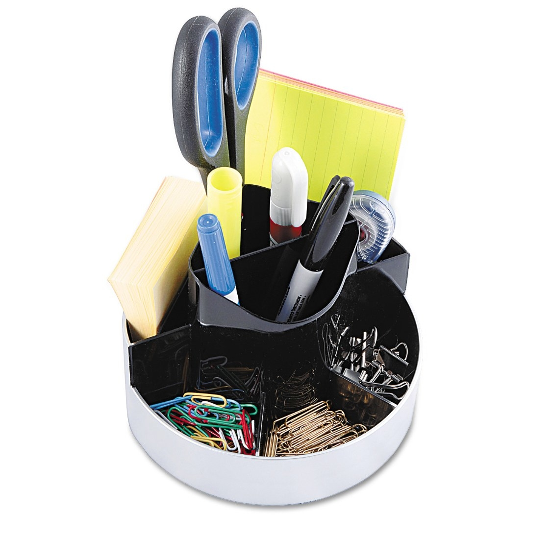 The desktop organizer being used to hold office supplies
