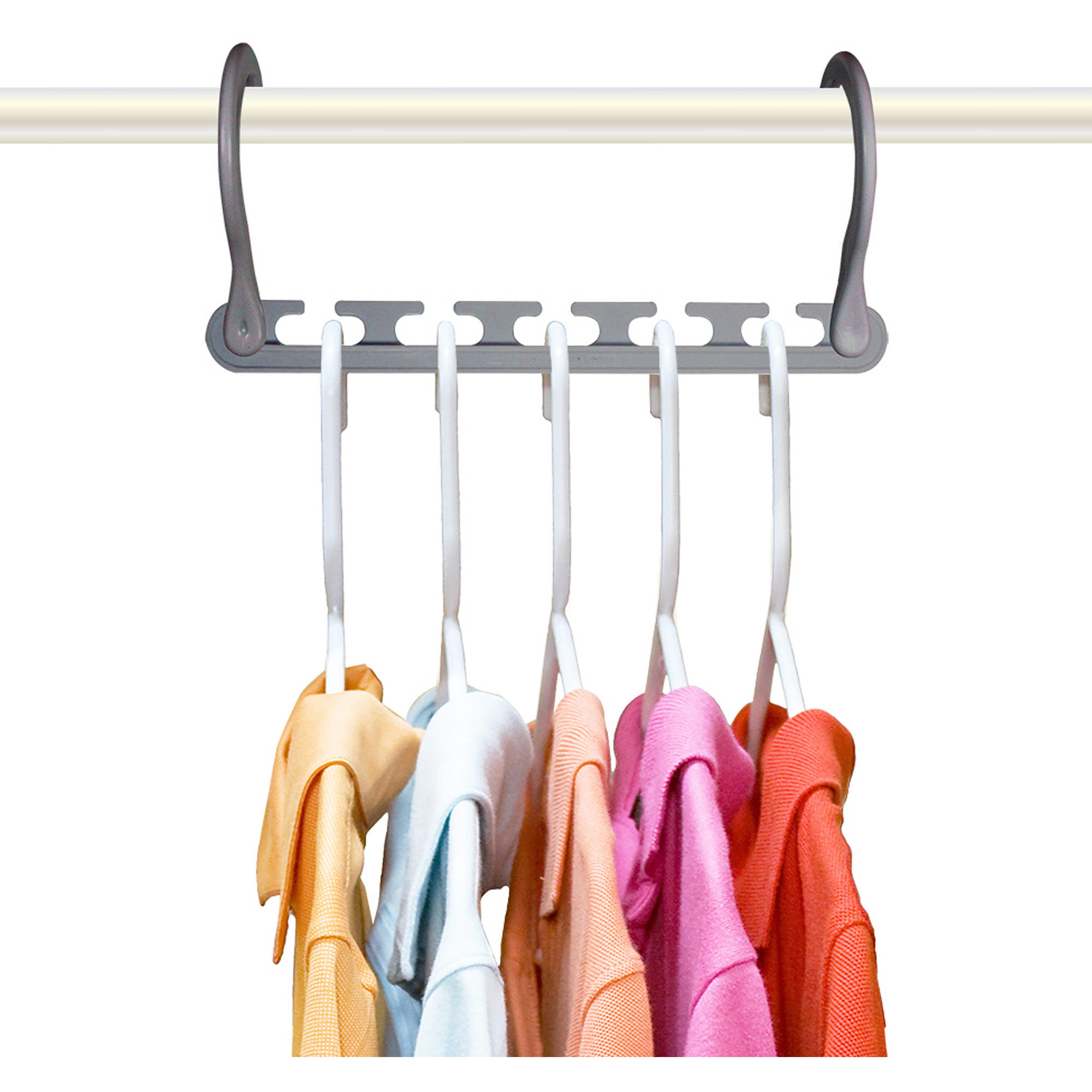 One hanger holding 5 different shirts