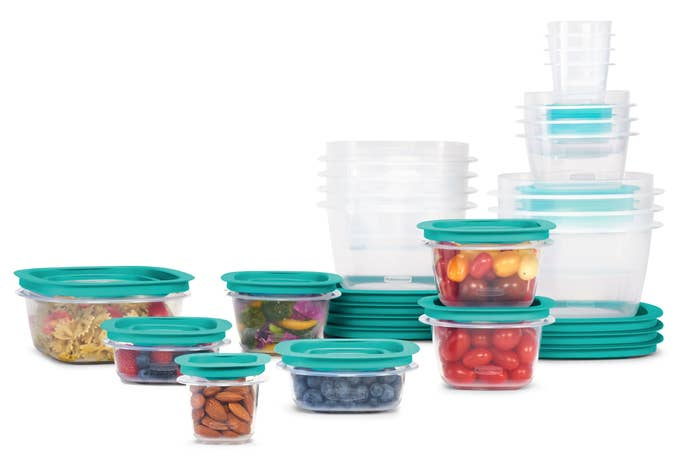 Clear Rubbermaid containers with teal lids