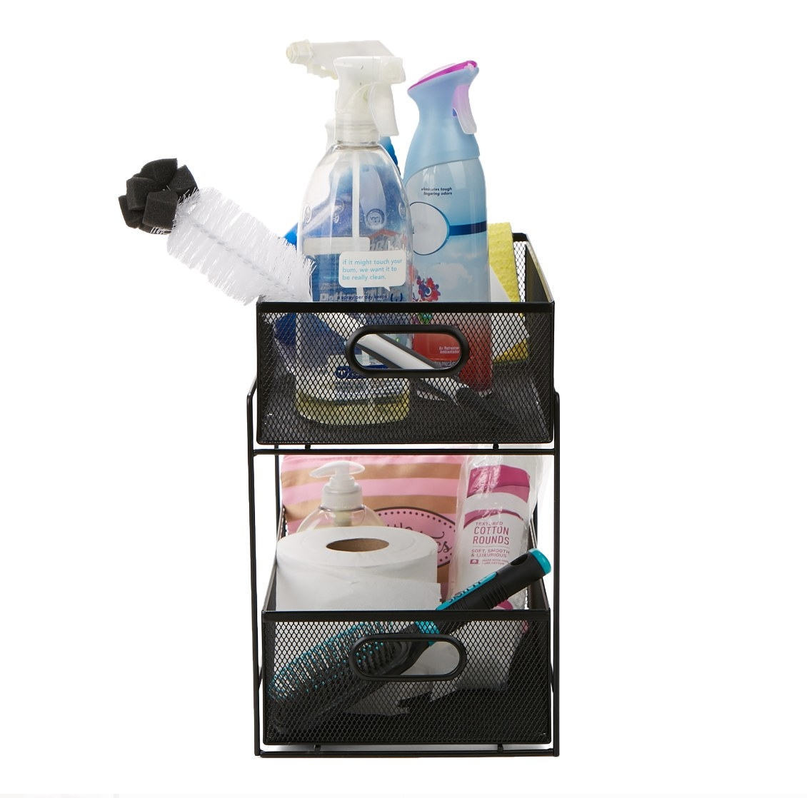 The drawer organizer being used to hold cleaning supplies