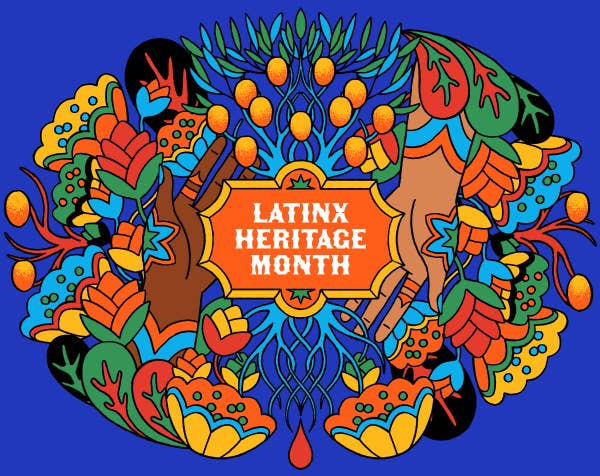 """Illustration of two hands emerging from a bed of flowers and leaves to surround the words, """"Latinx Heritage Month."""""""