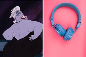 """On the left, Ursula from """"The Little Mermaid,"""" and on the right, a pair of headphones"""