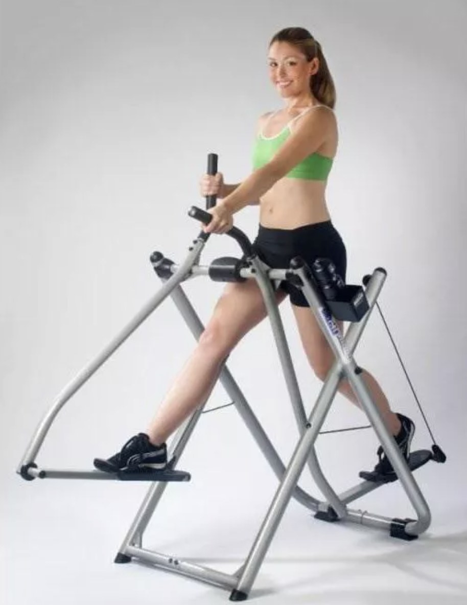 Model is exercising on a silver gazelle freestyle glider
