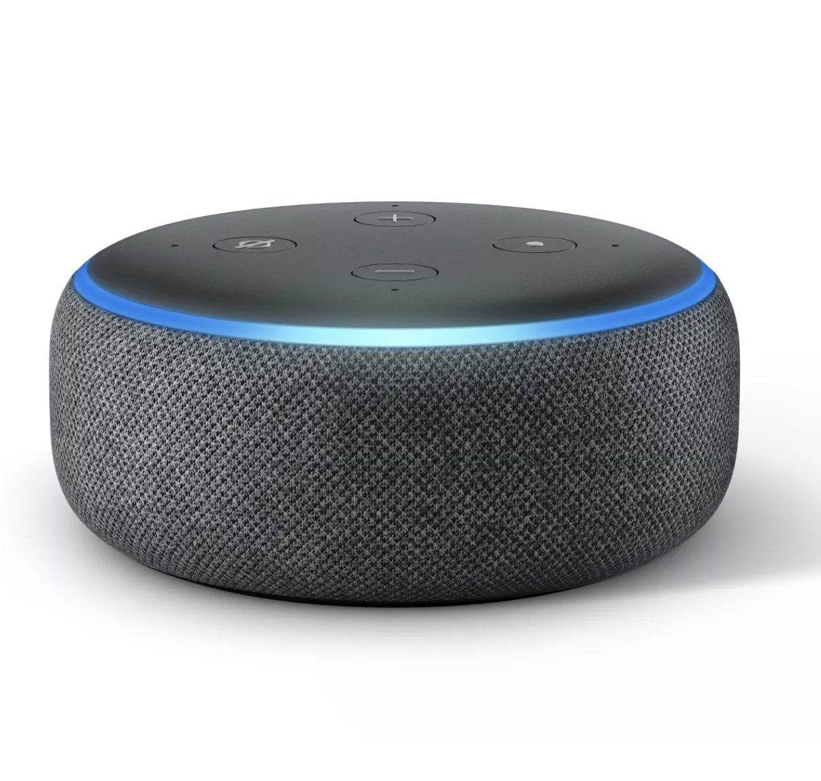 An amazon echo dot lit up with a blue led ring around the top edge