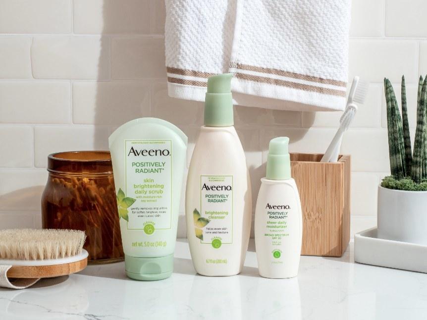 Aveeno products on bathroom counter
