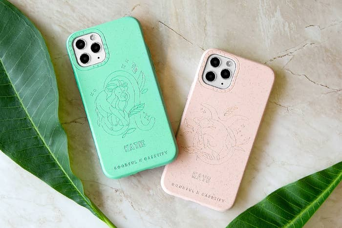Green and beige phone cases with astrology signs