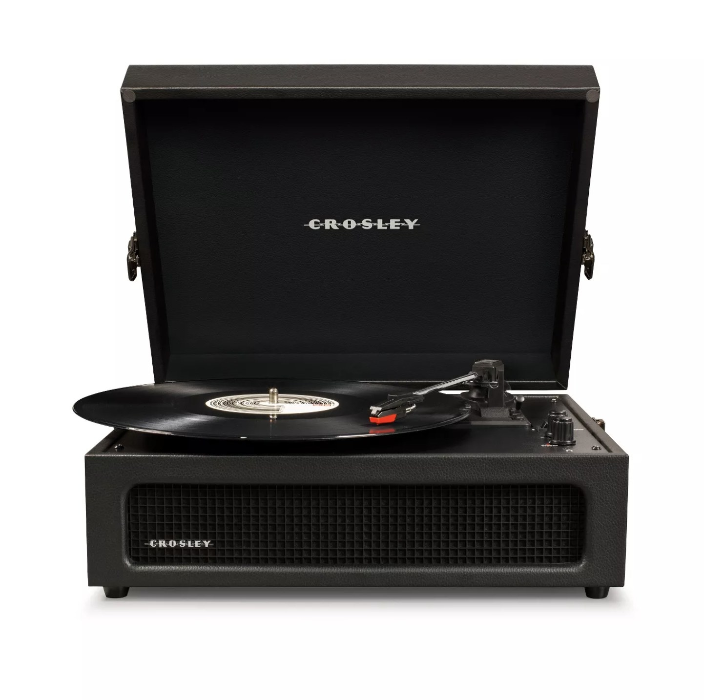 A black vintage-style turntable with a vinyl record on it