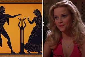 "Side-by-side images of an ancient Greek illustration and Elle Woods from ""Legally Blonde"""