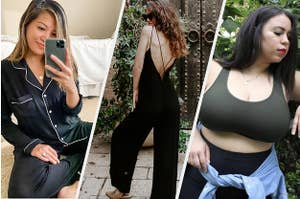 on left, reviewer wearing pajama set; in center, model wearing black jumpsuit; on right, reviewer wearing bralette