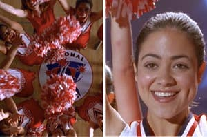 Overhead shot of a middle school dance team throwing pom-poms in the air next to a close-up of a smiling dance team member, played by Camille Guaty.