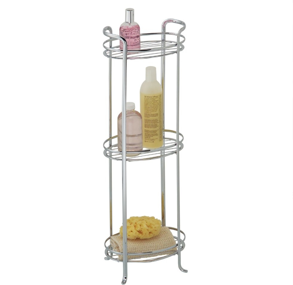 The bathroom storage shelves holding bath products