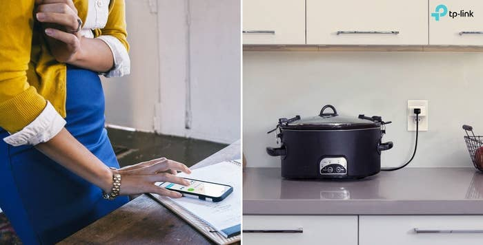 Person using app to turn off slow cooker
