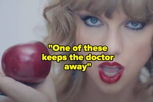 "An image of Taylor Swift holding an apple in the ""Blank Space"" video with the clue ""One of these keeps the doctor away"" over top"