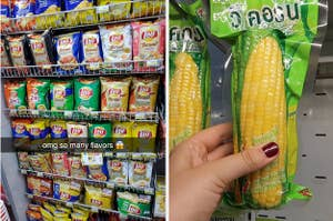 unusual flavors of chips and a packaged corn on the cob