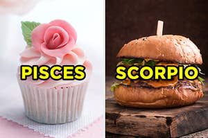 "On the left, a cupcake with a fondant rose labeled ""Pisces,"" and on the right, a cheeseburger labeled ""Scorpio"""