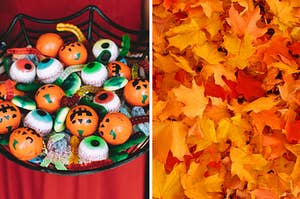 Halloween candy and fall leaves.