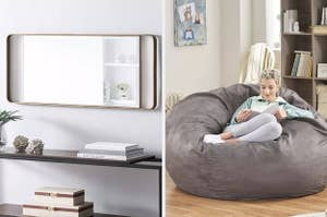 mirror and beanbag chair