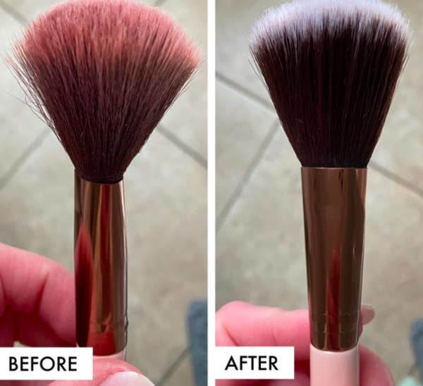 On the left, a reviewer holding their dirty makeup brush, and on the right, the same makeup brush now looking clean