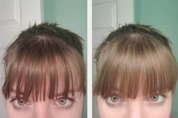 On the left, a reviewer's hair looking a little oily, and on the right, the same reviewer's hair not looking oily anymore