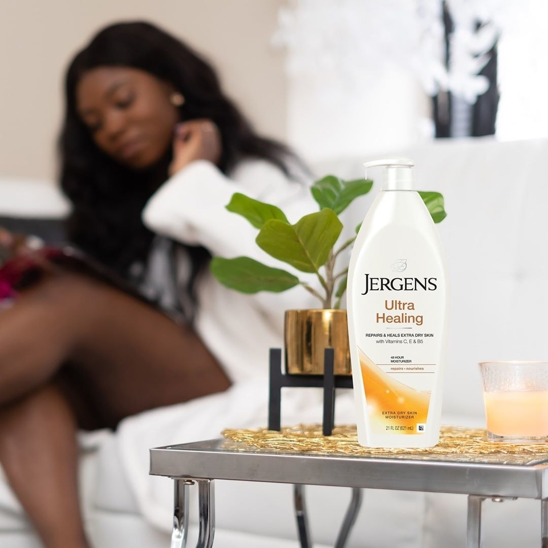 Jergens ultra healing lotion on a tabletop