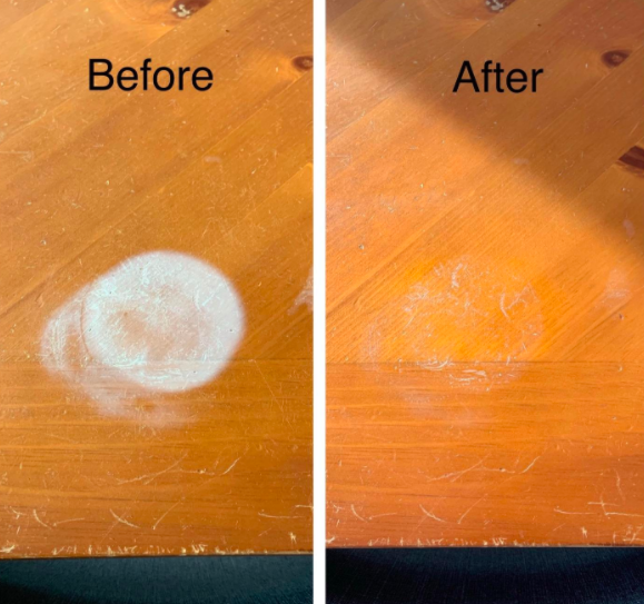 a before and after of a water stain lifting from the wood