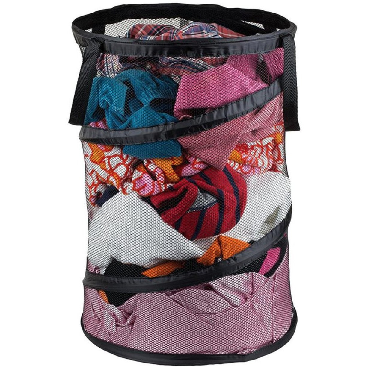The laundry hamper holding dirty clothes