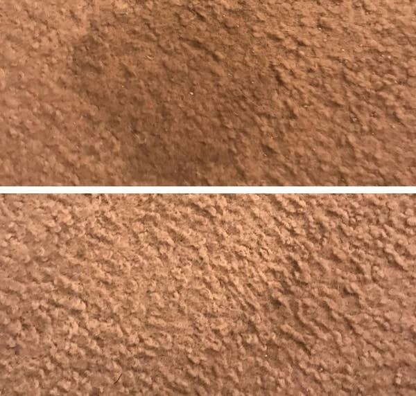 On the top, a wet stain on a carpet, and on the bottom, the same carpet, now clear of the stain after using the pad