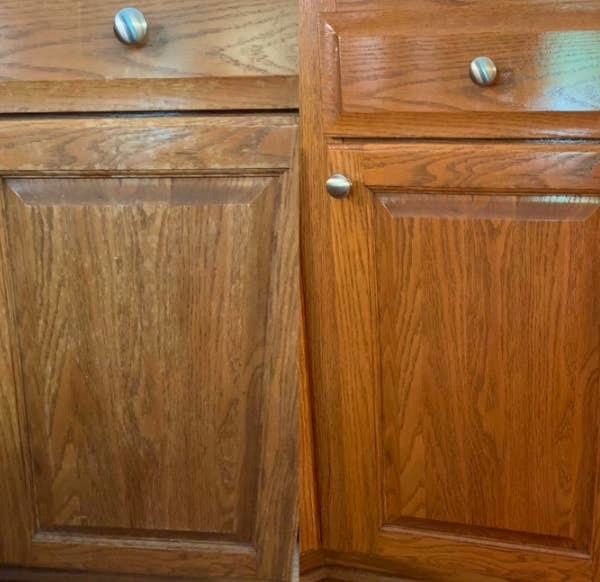 On the left, a reviewer's wooden cabinet looking old and dirty, and on the right, the same reviewer's wooden cabinet, now looking brighter and cleaner