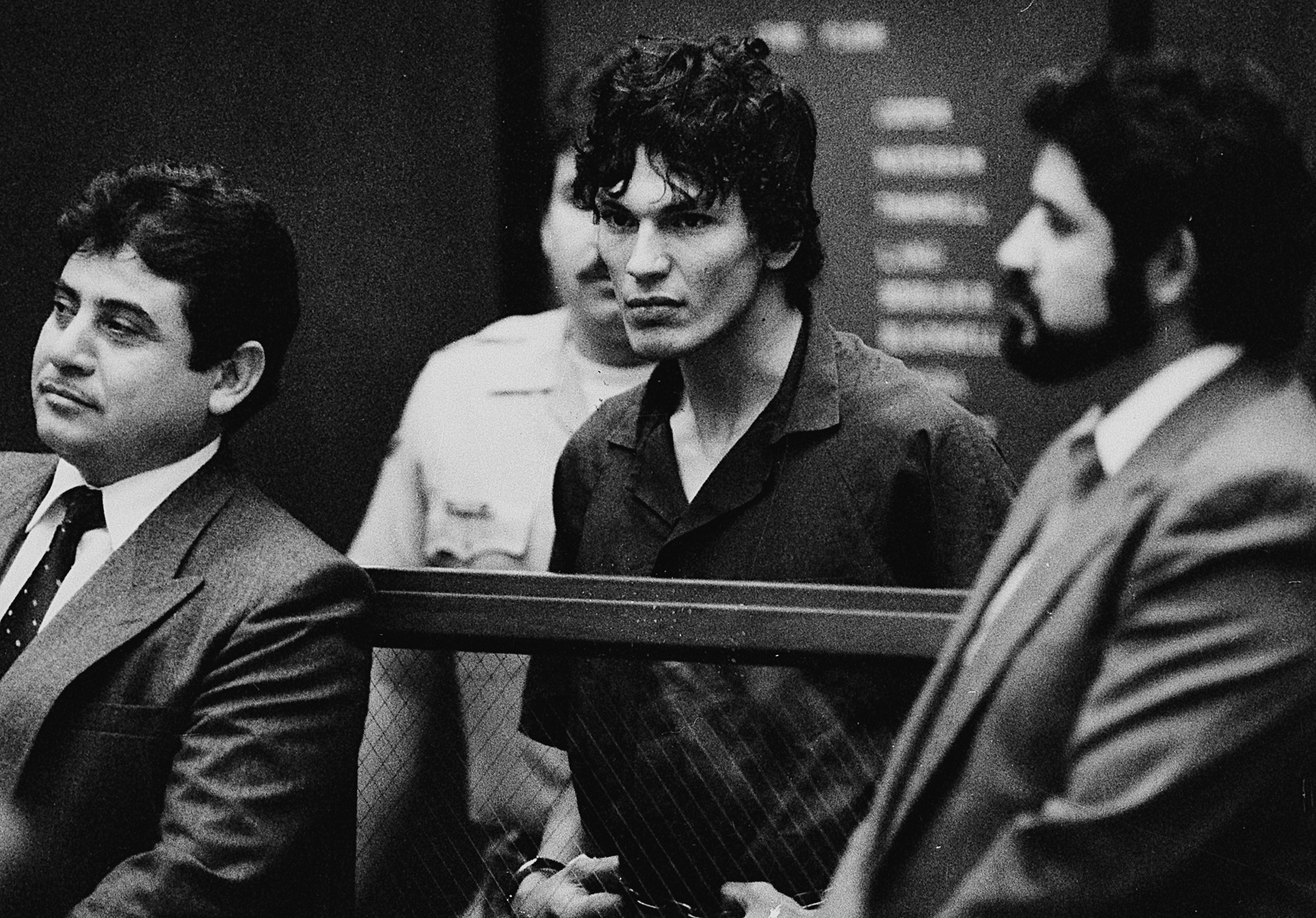 Black-and-white photo of Richard Ramirez during his trial.
