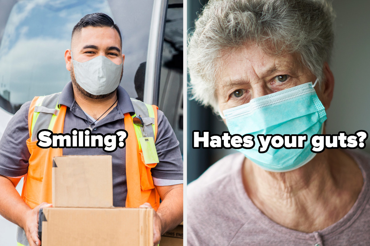"""man and older woman both wearing masks alongside each other labeled """"smiling?"""" and """"hates your guts?"""""""