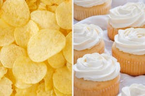 Potato chips next to vanilla cupcakes